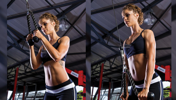 woman performing a tricep pushdown