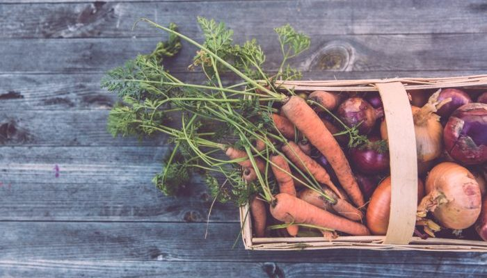 Box of vegetables in how to meal prep article